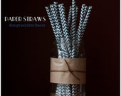 25 Midnight and White Chevron Pattern Paper Straws - Standard 7.75'' / 19.68cm