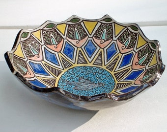 hand carved ceramics and pottery bowl