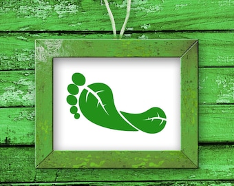 Green Footprint, No Carbon, Recycle, Earth, Mother Nature, Wall Decal, Leaves, Leaf, Sticker, Vinyl, Wall Art, Home, Office, Cause Decor