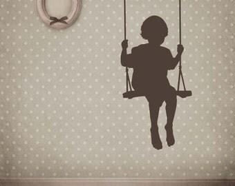 Toddler, Boy or Girl in a Swing, - Decal, Sticker, Vinyl, Wall, Home, Playroom, Nursery Decor