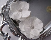 Wedding Bridal Hair Flower Blossoms accessory set  - Rhinestone Centers - small  Alligator Clips - BETHANIA