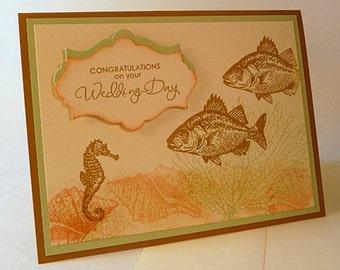 Wedding Card, beach wedding card, mint, seashore, sand, wedding congratulations, hand stamped card (C1136)