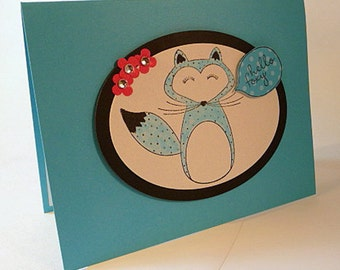 Fox Note Card, hello foxy, thinking of you card, blank greeting card, just because friendship card, fancy handmade hand stamped card (C1142)