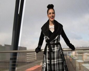 Monique Robed Trench - Plaid, Oversized Collar, Snap Closure, Pleated Cuff, Black, White, Neon, Chic, Warm