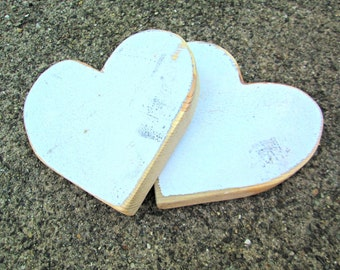 Matching Weathered White Wooden Heart Cut Out Shapes Woodworking Craft Supplies