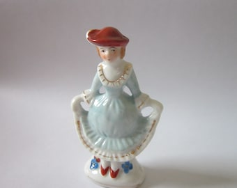 Figurine Occupied Japan  Victorian lady in ruffled dress doing curtsy Women Figurine blue dress and red hat 3 inches tall