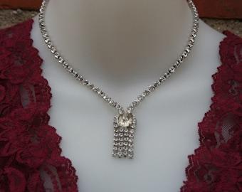 Diamond Rhinestone Necklace Vintage Pendant