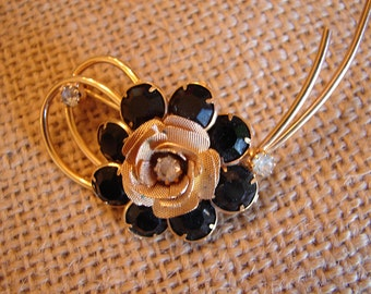 Vintage Flower Brooch with Onyx and Diamond Rhinestones signed Hobe