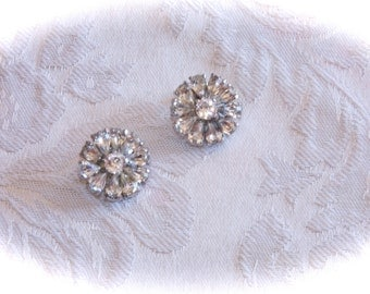 Vintage Rhinestone Button Clip On Earrings