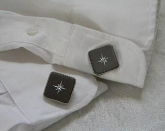 Vintage Mens Square Diamond Cut Grey Cufflinks
