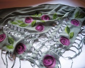 Nuno felted shawl wrap - Roses in the ashes