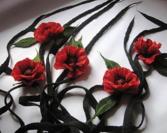 Felted wrap - Poppies on the fence / wool / scarf / shawl / dress / flower
