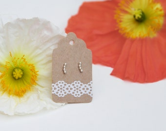 Tiny bead stud earrings handmade sterling silver