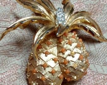 Vintage Stamped Boucher Pineapple Brooch Missing Stones