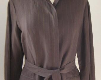 80s 90s era Vintage Giorgio Armani Le Collezioni Linen Jacket Size 8 Brown Pinstripe