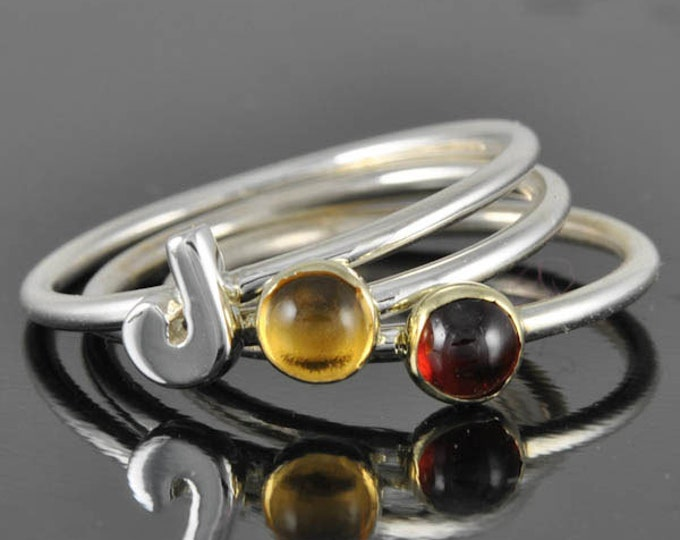 Bridesmaid gift, stacking, birthstone ring, personalized ring, gold, sterling silver, midi ring, knuckle ring