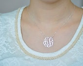 Silver Name Necklace-2initials necklace-silver necklace Hand sketch& Hand Craft