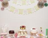 Ka-Lollie Paper Rosette Banner / Garland & Backdrop for Dessert Table / Shower/ Nursery (Featured on HWTM)