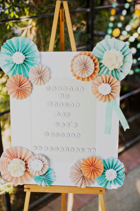 Ka-Lollie Rosettes Welcome Sign for Wedding/ Bridal Shower / Birthday Party/ Baby Shower