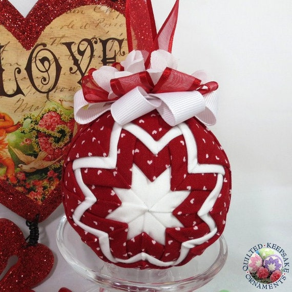Christmas Tree Ornaments Quilted : Items similar to valentine quilted ornament christmas
