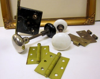 Vintage door knobs, mortise latch and hinges