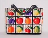 Fruit Patchwork Tote Bag 1970s Vintage