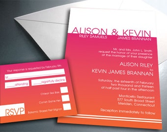 Wedding Invitation Card Suite Set - Printable PDF - Graceful Gradient - Personalized - Custom Colors
