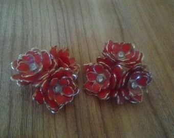 CORO red flower 1960s earrings