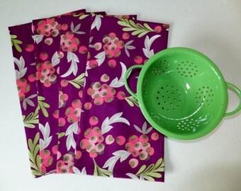 2 Purple Dish Towels, Tea Towels, Purple Berry Kitchen Towels, Wild Crow Farm