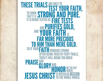 1 Peter 1:7. Tested Faith. 8x10.  DIY. Printable Christian Poster. PDF. Bible Verse.