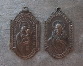 Brass Jesus Mary 2-Sided Religious Charms Medals Hand Oxidized 26x14mm Stampings (2)