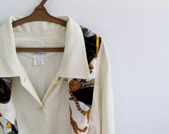 Off White Blouse Vintage, Long Sleeve Woman Buttoned Shirt With Belt, Big Collar Top size XL, Mad Men Clothes Style, Retro Office Fashion