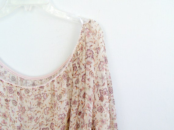 Romantic Boho Top blouse, 80s XL slouchy top, Pink Floral Soft Spring Tunic, Woman Light Shirt, Country, Hippie, Gypsy
