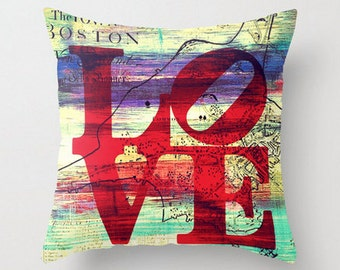 Boston LOVE Throw Pillow  Colorful Vibrant Toss Pillow Home Decor
