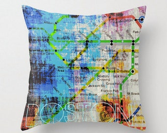 Boston Lines Throw Pillow  Colorful Vibrant T Inspired Home Decor
