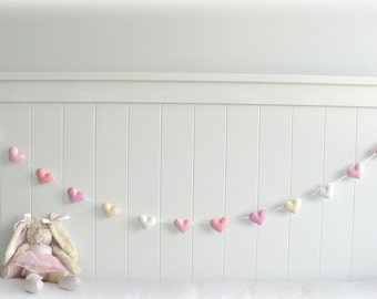 Spring Pastel felt hearts banner/ garland/ bunting in pink, white and cream - nursery decor - MADE TO ORDER