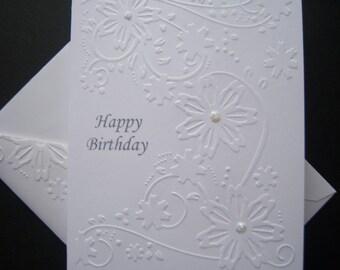 Embossed Swirling Flowers Birthday Card