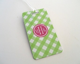 Luggage Tag Pair - Lime Green and Pink Gingham  Luggage Tag- Travel Accessories - Travel  Luggage Tag - Gingham Travel Tag