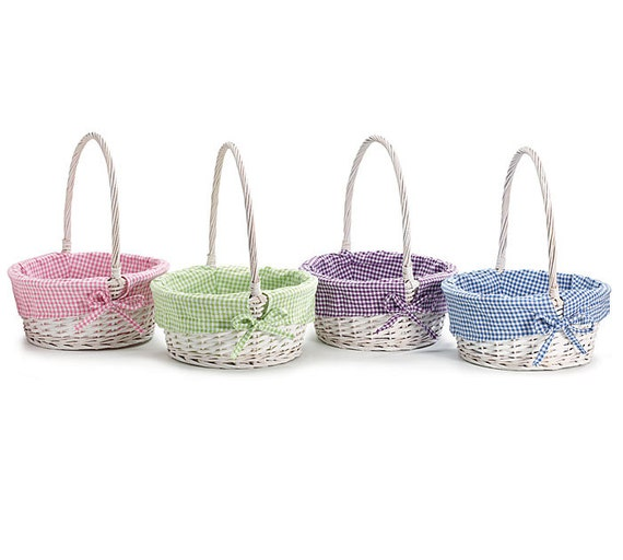 White Willow Easter Basket With Monogrammed Liner Purple Only