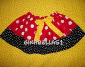 Minnie Mouse DRESS UP SKIRT  Mickey Mouse skirt only Birthday party red black zebra bow available in 12 18 months 2t 3t 4t 5 6 toddler