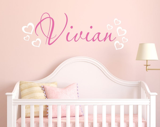 Custom Girls Name Decal // Name With Hearts // Nursery Decal // Personalized Name // Girls Bedroom Decor // Heart Decor