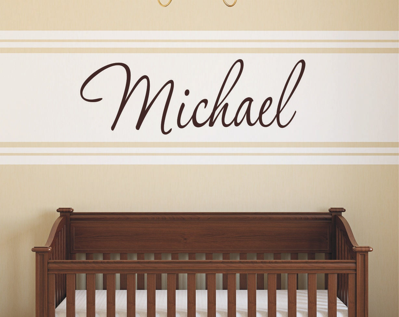 custom boy name wall decal baby boy nursery wall decor. Black Bedroom Furniture Sets. Home Design Ideas