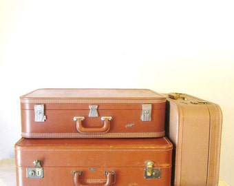 Old leather suitcase | Etsy