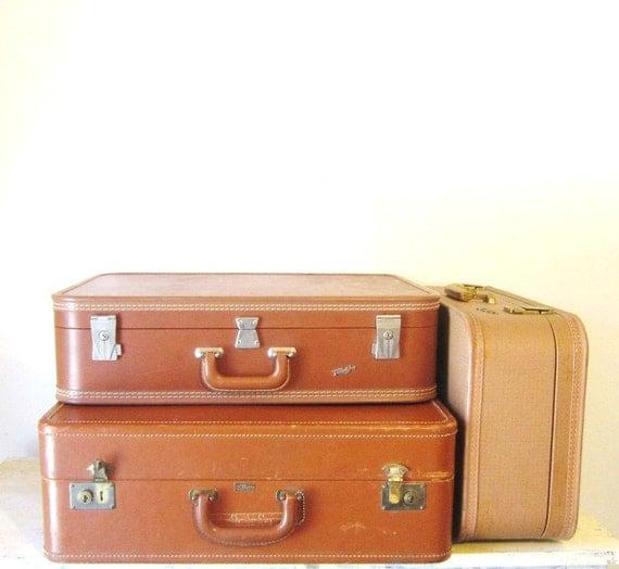 Vintage Suitcase Luggage Leather Luggage Old Leather Suitcases