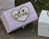 Flower Girl Gift Box Personalized Rustic Bridesmaid Jewelry Box, Custom Color, Shabby Chic, Rustic Wedding