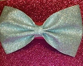 Large Silver Glitter Hair Bow