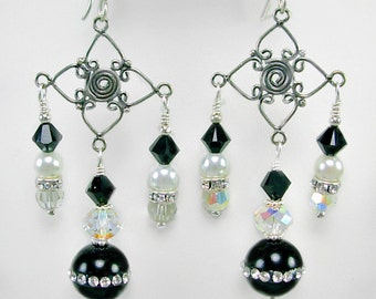 Onyx, Swarovski & Bali Silver Chandelier Earrings, Formal Earrings, Evening wear, Formal