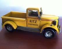 1940s Chevy Pickup Truck - Tin Metal Car Collectible Utilitarian Vehicle Toy Miniature Home Decoration in Yellow