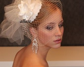 BIRD CAGE VEIL. Bridal hat with birdcage veil and lace and flower. Charming fascinator. Wedding hat with veil