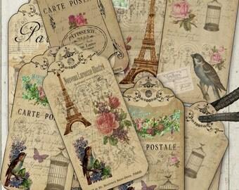 French Vintage tags/labels digital collage sheet. DIGITAL DOWNLOAD